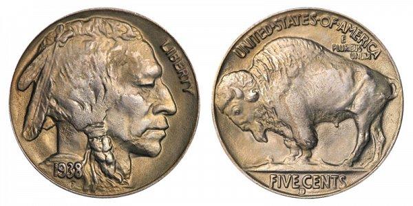 1938 D Indian Head Buffalo Nickel