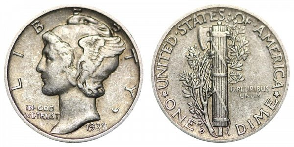 1938 D Silver Mercury Dime