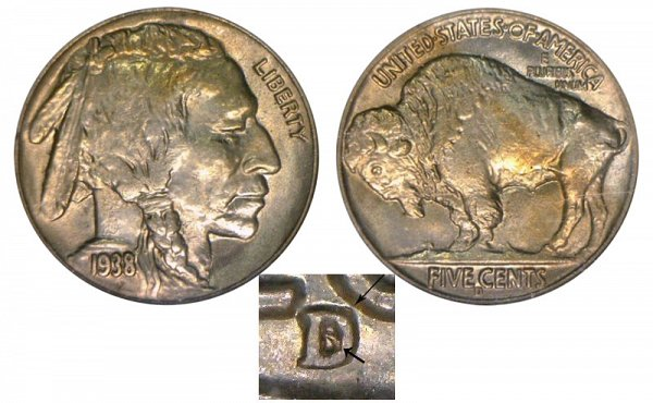 1938 D/S D Over S Indian Head Buffalo Nickel