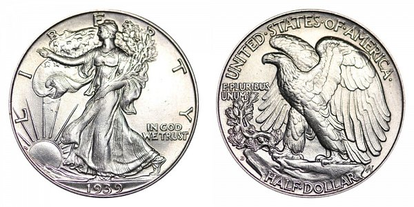 1939 D Walking Liberty Silver Half Dollar