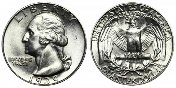 1939 D Washington Silver Quarter