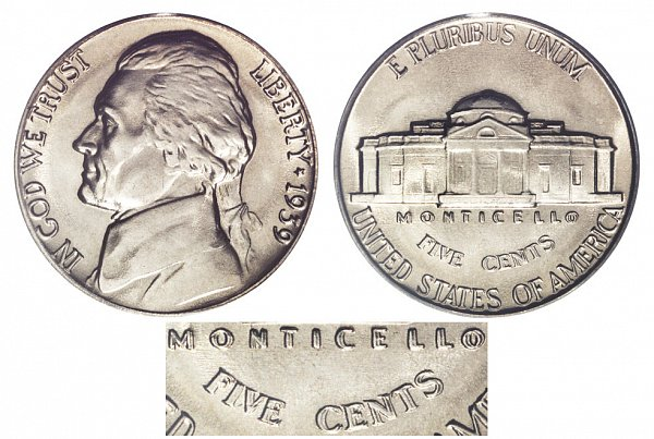 1939 Double Monticello Jefferson Nickel - Doubled Die
