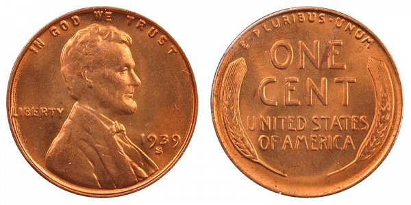 1939 S Lincoln Wheat Cent Penny