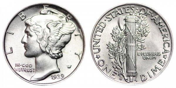 1939 S Silver Mercury Dime
