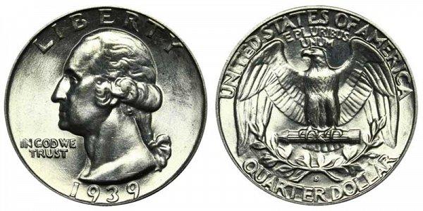 1939 S Washington Silver Quarter