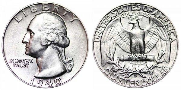 1940 D Washington Silver Quarter