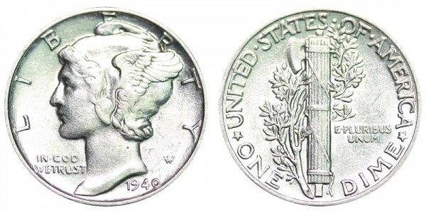 1940 Silver Mercury Dime