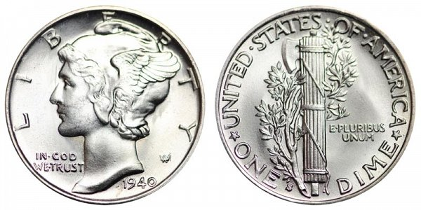1940 S Silver Mercury Dime
