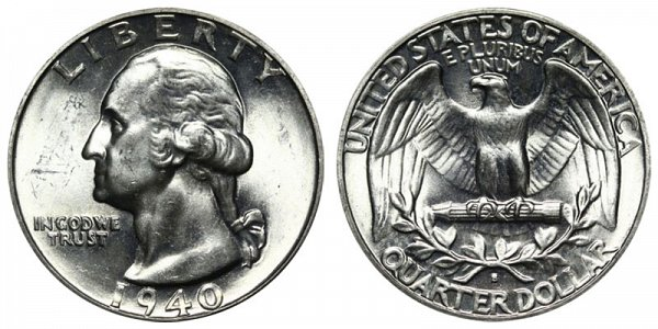 1940 S Washington Silver Quarter