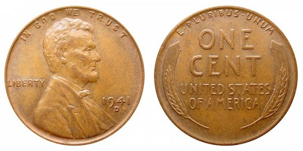 1941 D Lincoln Wheat Cent Penny
