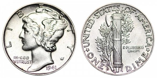 1941 D Silver Mercury Dime