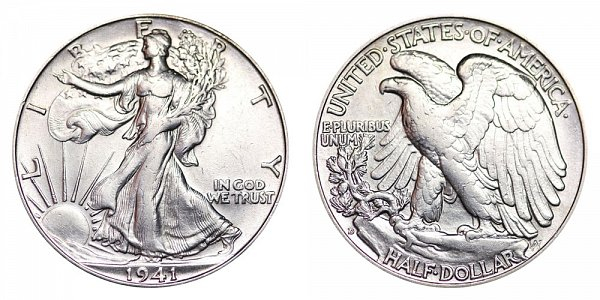 1941 D Walking Liberty Silver Half Dollar