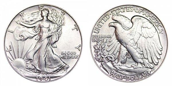 1941 D Walking Liberty Silver Half Dollar