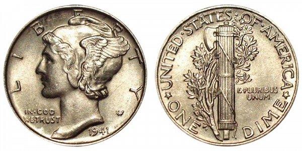 1941 Silver Mercury Dime