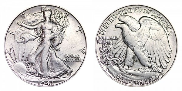 1941 S Walking Liberty Silver Half Dollar