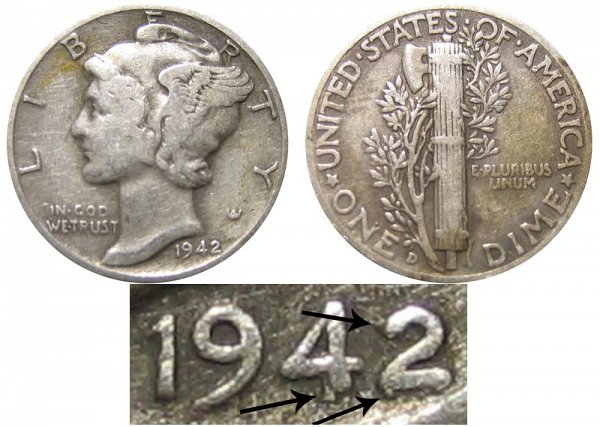 1942/1 D 42 Over 41 Silver Mercury Dime Overdate Error