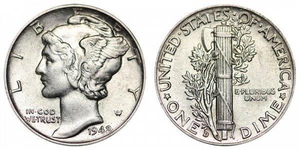 1942 D Silver Mercury Dime
