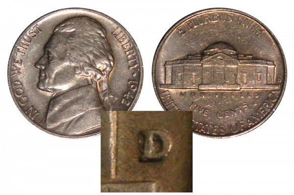 1942 D Over Horizontal D Jefferson Nickel Error - 1942 D/D Nickel