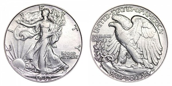 1942 D Walking Liberty Silver Half Dollar