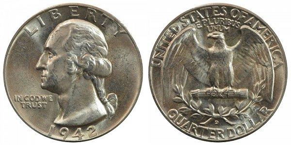 1942 D Washington Silver Quarter