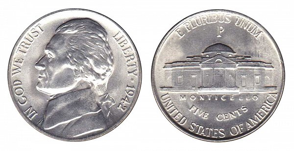 1942 P Wartime Jefferson Nickel - Silver War Nickel