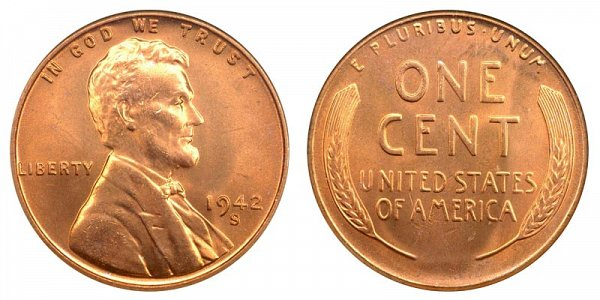 1942 S Lincoln Wheat Cent Penny
