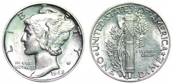 1942 S Silver Mercury Dime