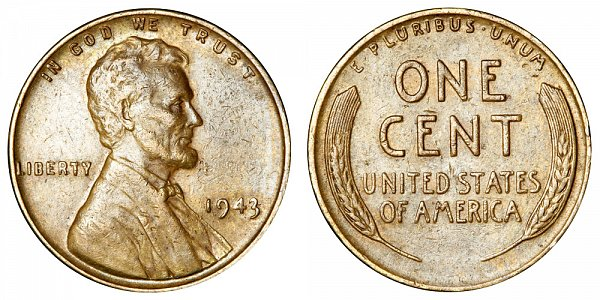 1943 Bronze/Copper Lincoln Wheat Cent Penny