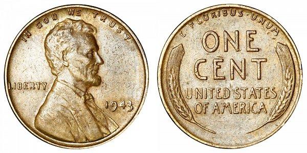 1943 Bronze/Copper Lincoln Wheat Cent Penny