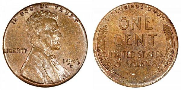 1943-D Bronze/Copper Lincoln Wheat Cent Penny