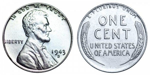1943 D Steel Wartime Lincoln Wheat Cent Penny
