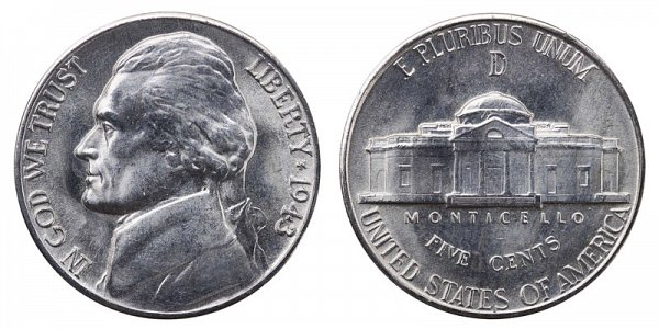 1943 D Wartime Jefferson Nickel - Silver War Nickel