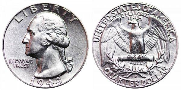 1943 D Washington Silver Quarter