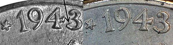 1943 P 3 Over 2 Wartime Jefferson Nickel - 1943 3/2 Silver War Nickel