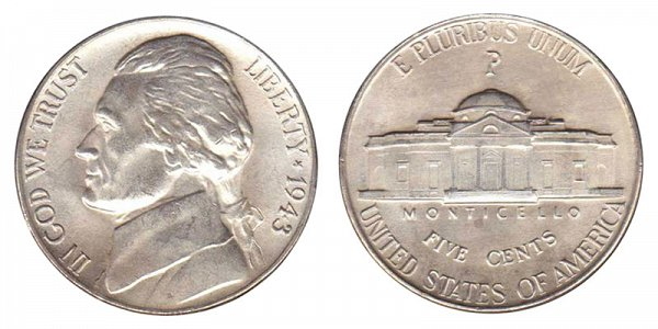 1943 P Wartime Jefferson Nickel - Silver War Nickel