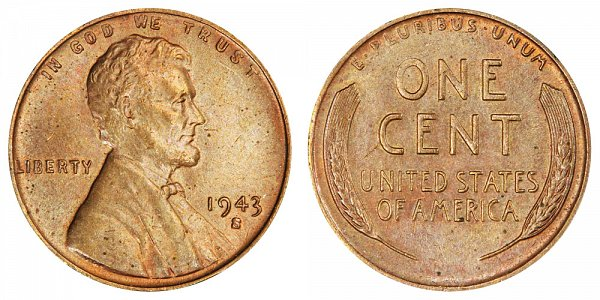 1943-S Bronze/Copper Lincoln Wheat Cent Penny