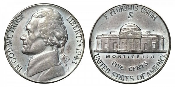 1943 S Wartime Jefferson Nickel - Silver War Nickel