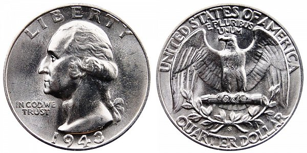 1943 S Washington Silver Quarter