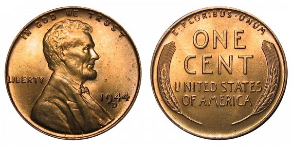1944 D Lincoln Wheat Cent Penny