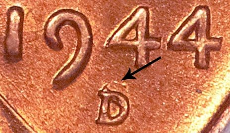 1944 D Over S (D/S OMM) Lincoln Wheat Cent Penny Error