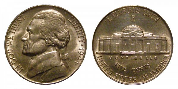 1944 P Wartime Jefferson Nickel - Silver War Nickel