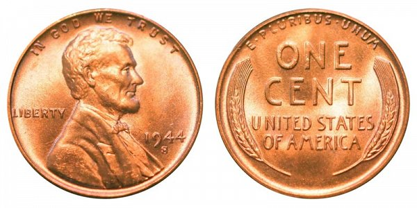 1944 S Lincoln Wheat Cent Penny