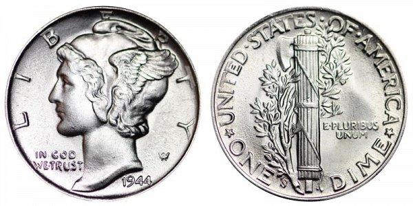 1944 S Silver Mercury Dime