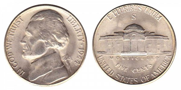 1944 S Wartime Jefferson Nickel - Silver War Nickel
