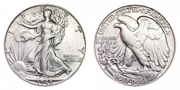 1945 D Walking Liberty Silver Half Dollar