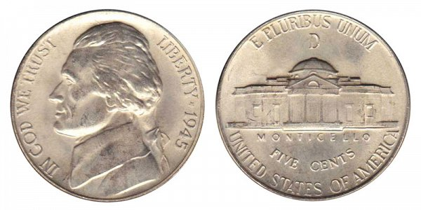 1945 D Wartime Jefferson Nickel - Silver War Nickel