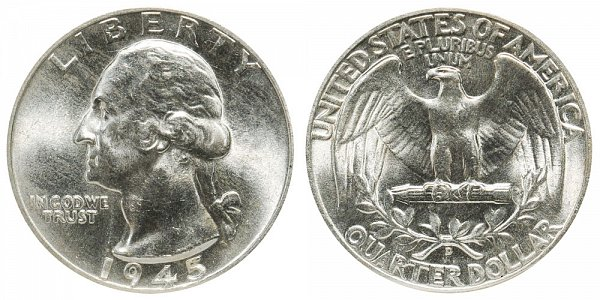 1945 D Washington Silver Quarter