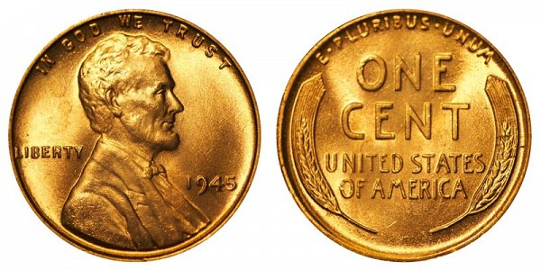 1945 Lincoln Wheat Cent Penny