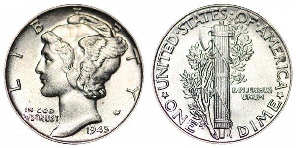 1945 Silver Mercury Dime