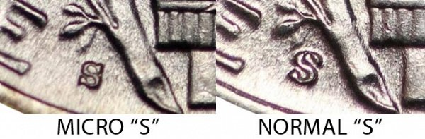 1945 Micro S vs Normal S Mercury Dime - Difference and Comparison